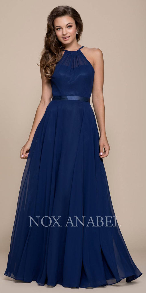 Navy Blue Halter A-line Bridesmaid Gown Corset Lace Up Back