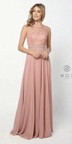 Nox Anabel Y101 Rose A-line Long Formal Dress Lace Bodice Keyhole Back