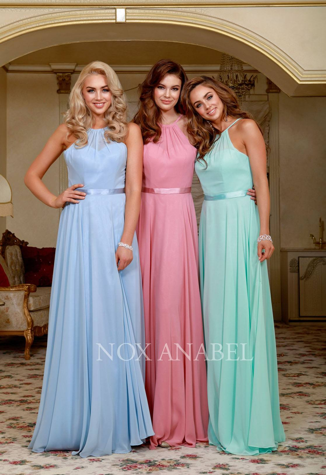 Nox Anabel Y102 Champagne Halter A-line Bridesmaid Gown Corset Lace ...