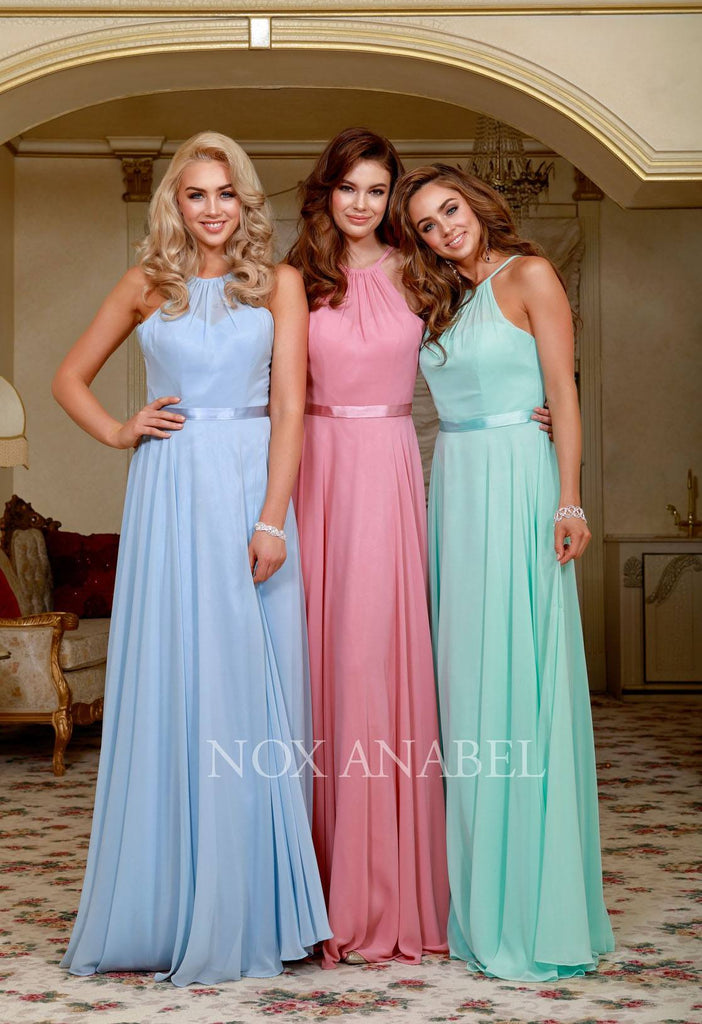 Ice Blue Halter A-line Bridesmaid Gown Corset Lace Up Back