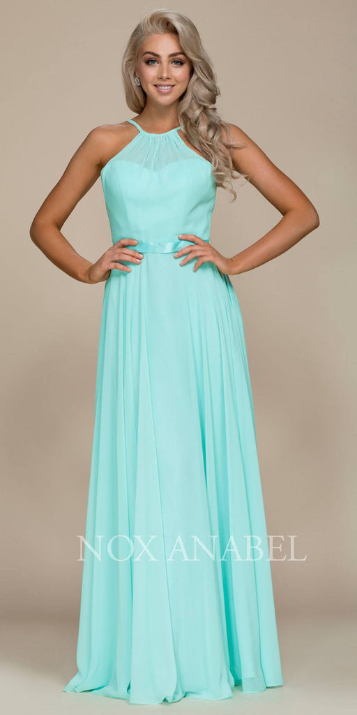 Mint Green Halter A-line Bridesmaid Gown Corset Lace Up Back