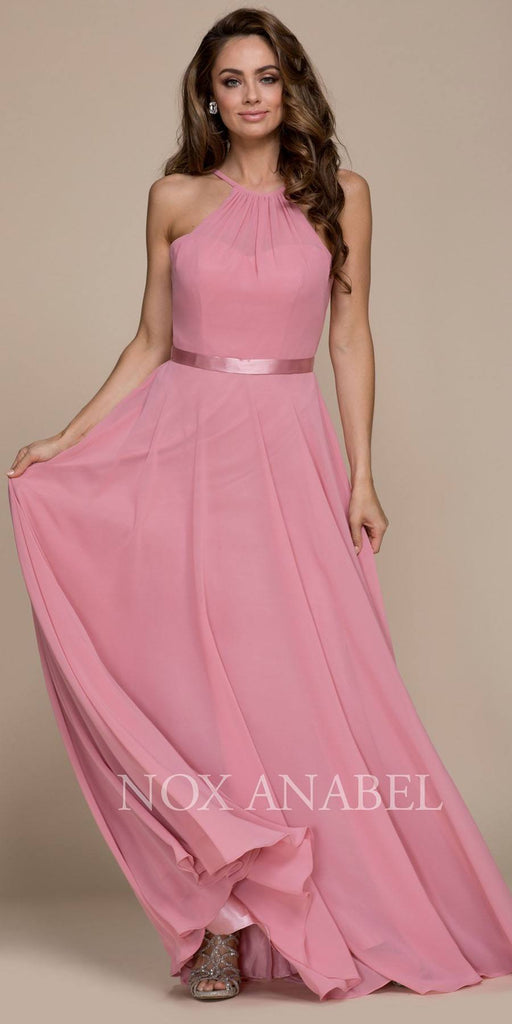 Rose Halter A-line Bridesmaid Gown Corset Lace Up Back