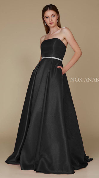 Nox Anabel Y154 Strapless Full Length Formal Dress A Line Black