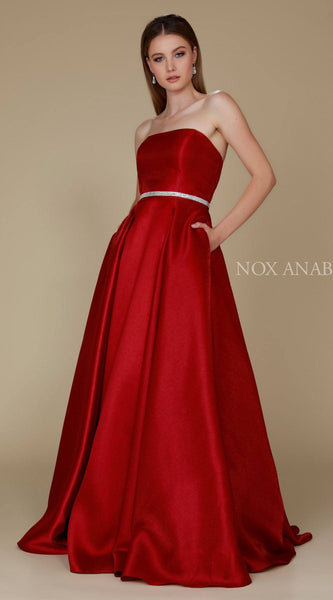Nox Anabel Y154 Strapless Full Length Formal Dress A Line Burgundy