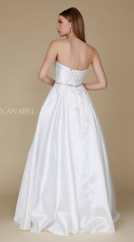Nox Anabel Y154 Strapless Full Length Formal Dress A Line Off White Back View