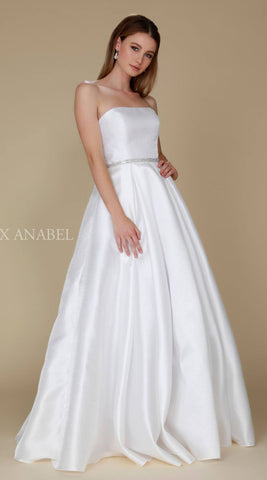 Nox Anabel Y154 Strapless Full Length Formal Dress A Line Off White