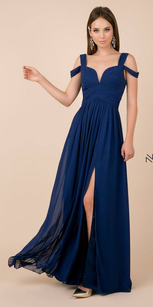 Navy Blue Cold-Shoulder Long Formal Dress with Slit