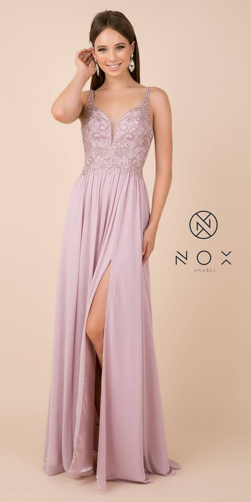 A-Line Long Formal Dress with Slit Beaded Bodice Mauve