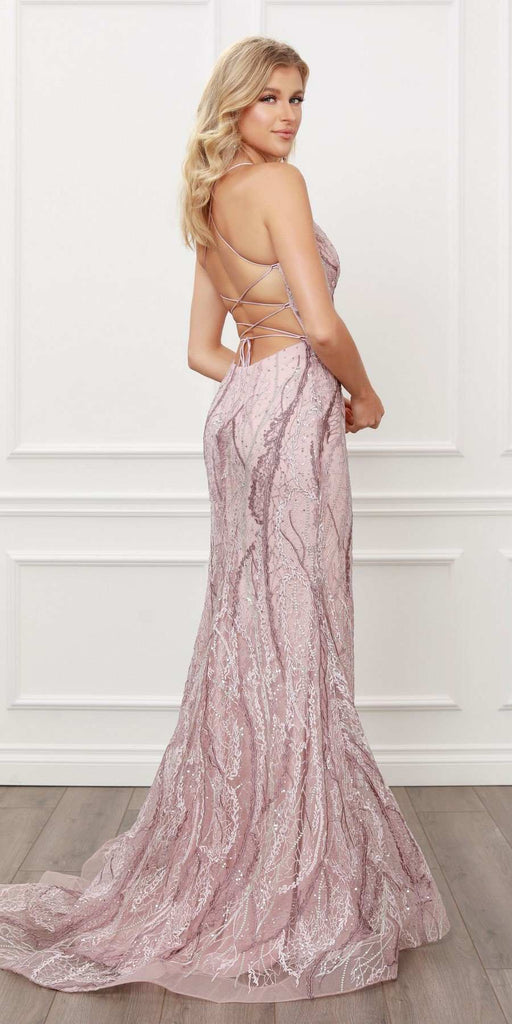 Nox Anabel Y408 Long Fitted Lace Formal Gown Spaghetti Straps V-Neck