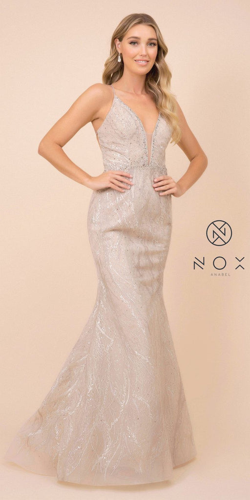 Nox Anabel Y408 Long Fitted Mermaid Lace Prom Dress Spaghetti Straps V-Neck