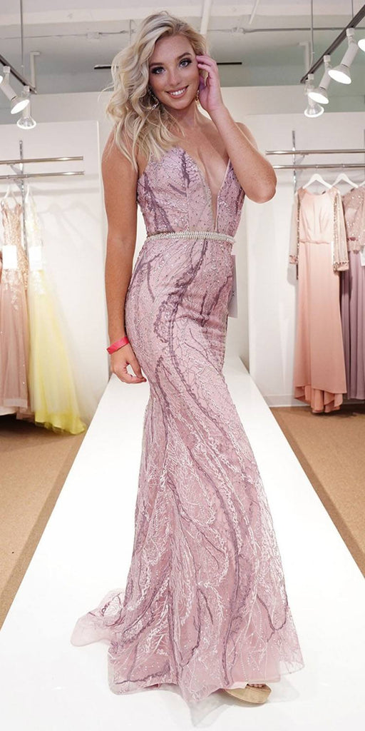 Nox Anabel Y409 Long Fitted Lace Mauve Formal Gown V-Neck