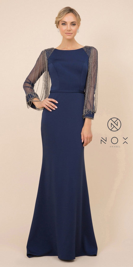 Nox Anabel Y410 Floor Length Evening Gown Navy Blue Fringe Beaded Long Sleeves