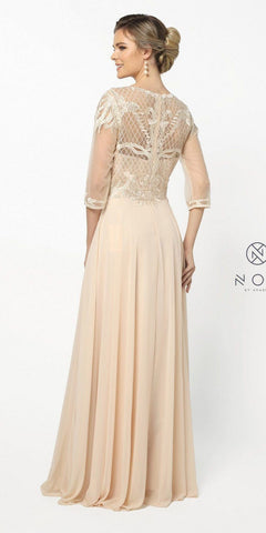 Quarter Sleeved Long Formal Dress Embroidered Gold