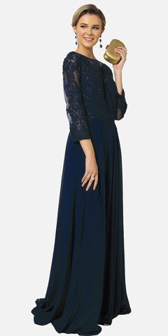 Navy Blue Appliqued Bodice Chiffon Long Formal Dress