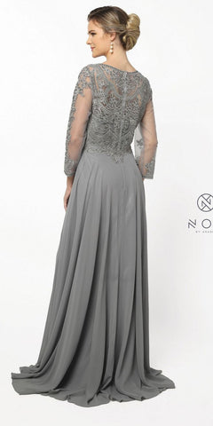 Steel Appliqued Bodice Chiffon Long Formal Dress