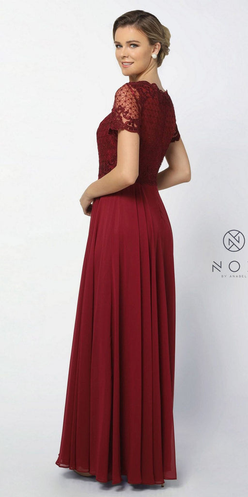 Nox Anabel Y514 Short Sleeve Long Mother of Bride Dress Burgundy