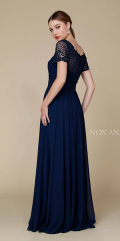 Nox Anabel Y514 Short Sleeve Long Mother of Bride Dress Navy Blue Back View
