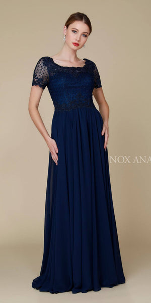 Nox Anabel Y514 Short Sleeve Long Mother of Bride Dress Navy Blue