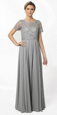 Nox Anabel Y514 Short Sleeve Long Mother of Bride Dress Steel (Silver)