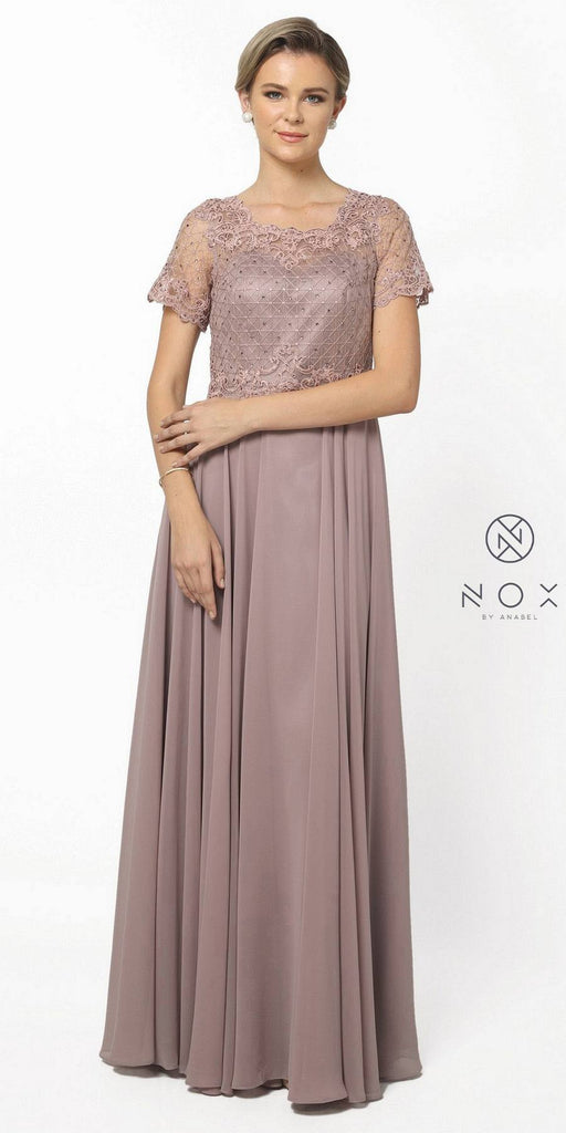 Nox Anabel Y514 Short Sleeve Long Mother of Bride Dress Tan