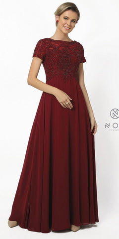 Short Formal Burgundy Dress V-Neck Lace Chiffon 3/4 Sleeve Jacket