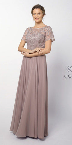 Short Sleeves Embroidered Long Formal Dress Root Rose