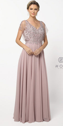 V-Neck and Back Rootrose Long Formal Dress Sheer Sleeves