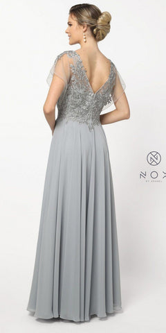 V-Neck and Back Silver Long Formal Dress Sheer Sleeves