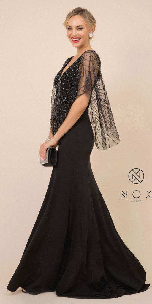 Nox Anabel Y531 Long Fitted Sheath Black Evening Gown Butterfly Sleeves V-Neck