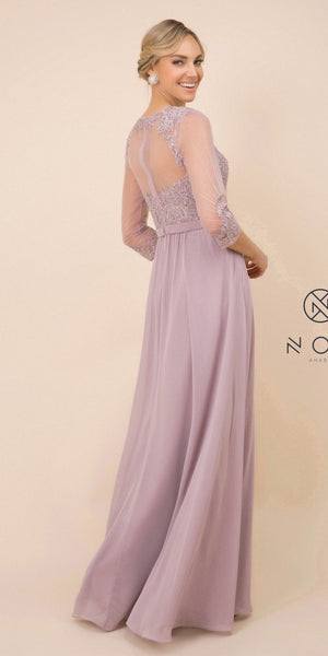 Nox Anabel Y532 3/4 Sleeve Mother Of The Bride Dress A-Line Taupe