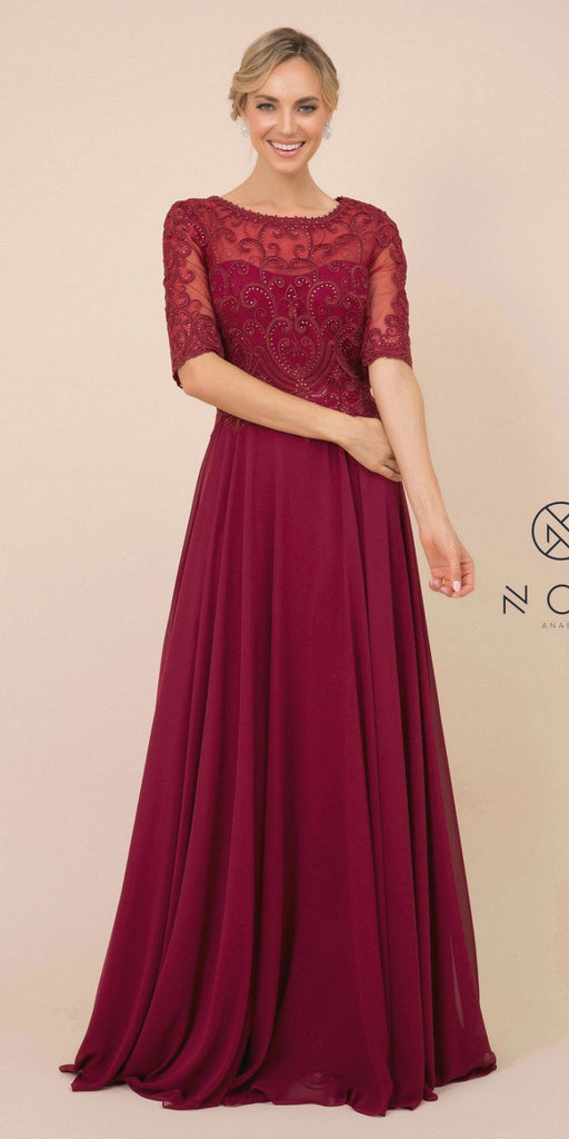 Nox Anabel Y538 Long Floral-Embroidered Chiffon Formal Gown Burgundy Mid Length Sleeves