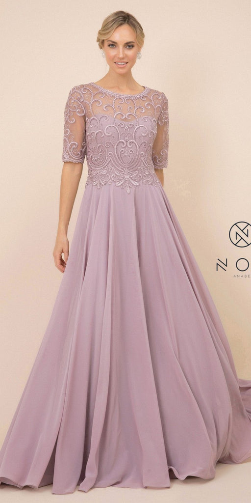 Nox Anabel Y538 Long Floral-Embroidered Chiffon Formal Gown Tan Mid Length Sleeves