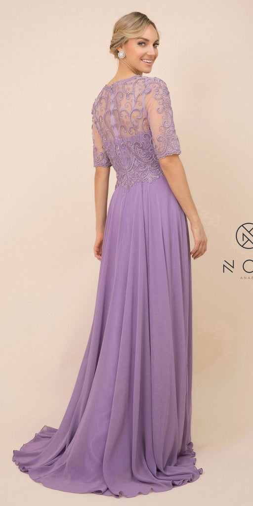 Nox Anabel Y538 Long Floral-Embroidered Chiffon Formal Gown Violet Mid Length Sleeves