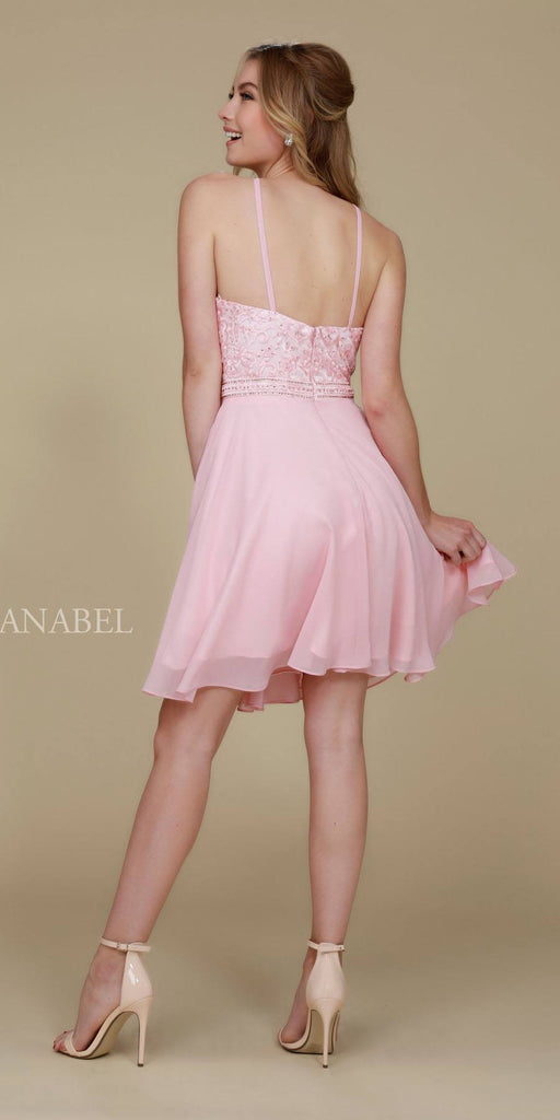 Nox  Anabel T629 Blush A Line Short Homecoming Halter Dress Back View
