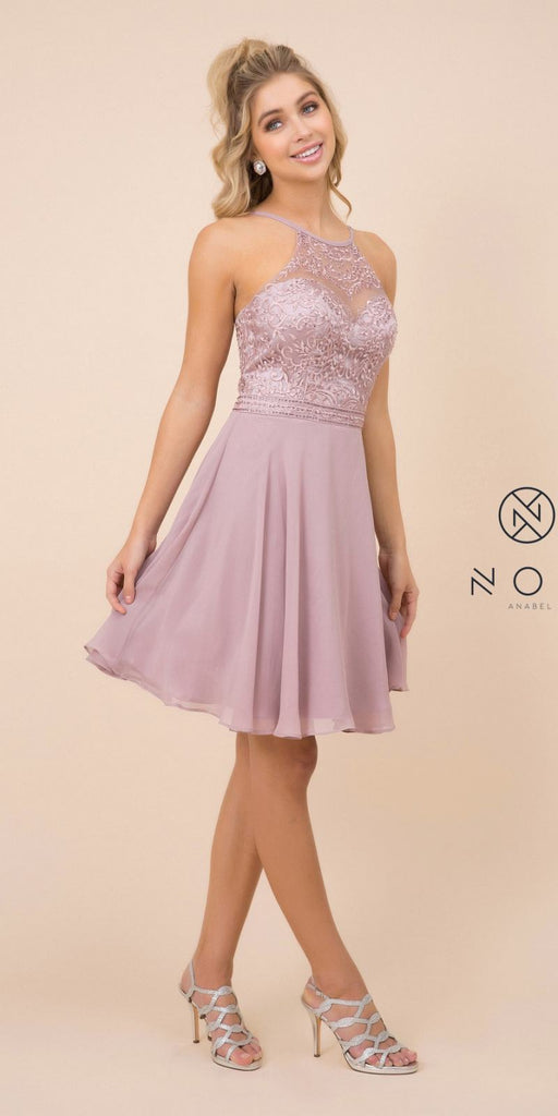 Nox  Anabel Y629 Tan A Line Short Homecoming Halter Dress