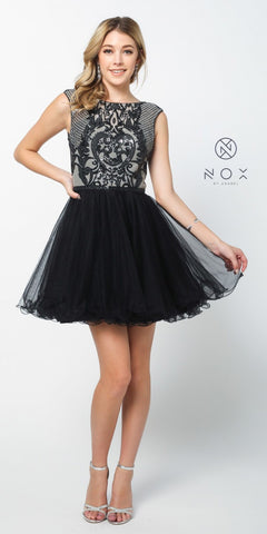 Nox Anabel Y645 Poofy Black Homecoming Dress Cap Sleeve Sequins