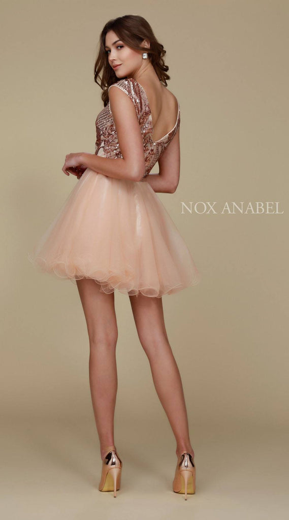 Nox Anabel Y645 Poofy Gold Homecoming Dress Cap Sleeve Sequins Back View