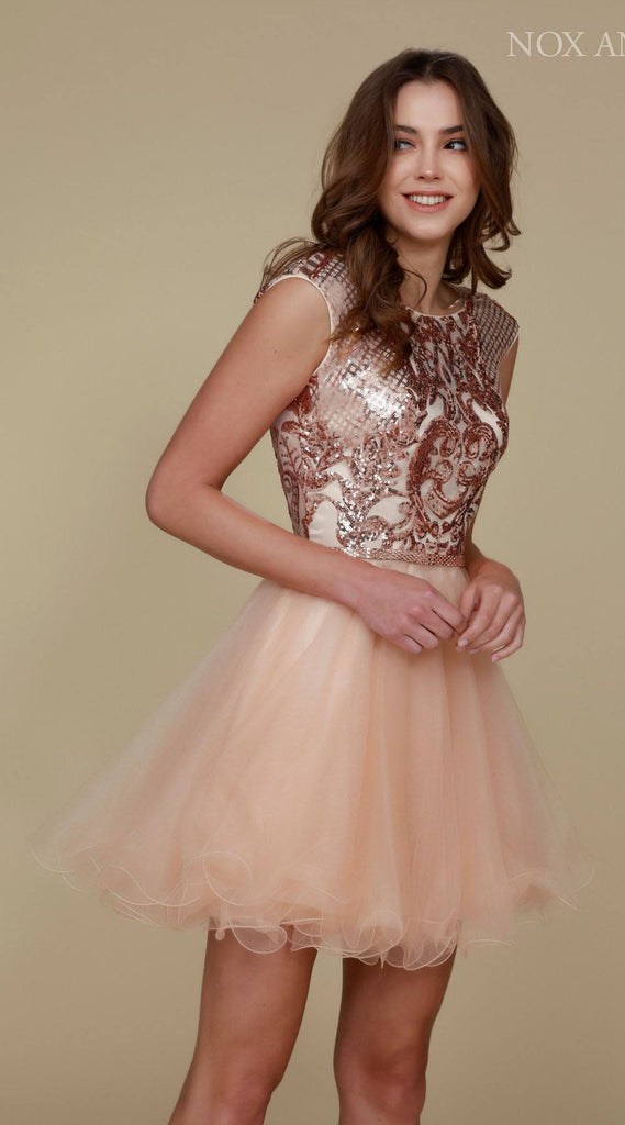 Nox Anabel Y645 Poofy Gold Homecoming Dress Cap Sleeve Sequins