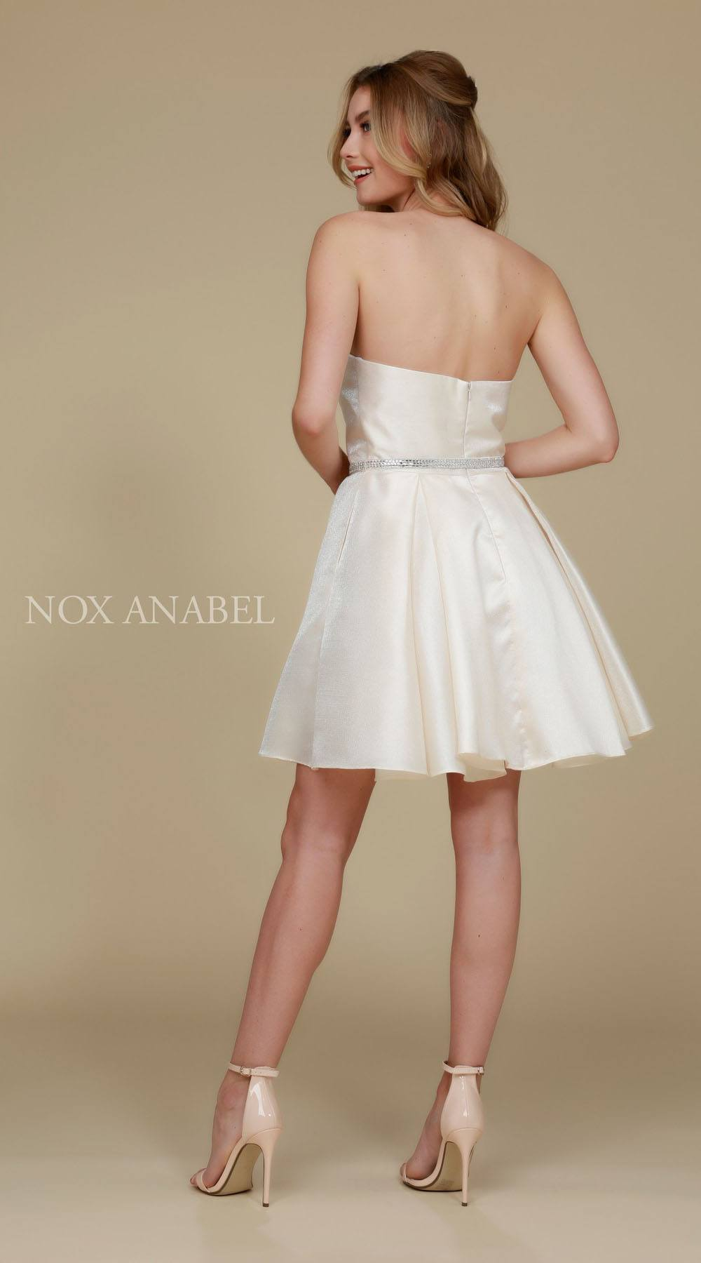 139ec3dce6 ... Strapless A Line Mikado Homecoming Dress Ivory Pockets Back View ...
