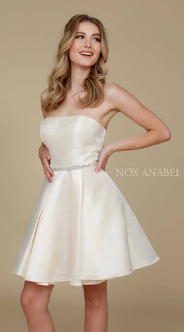 Strapless A Line Mikado Homecoming Dress Ivory Pockets