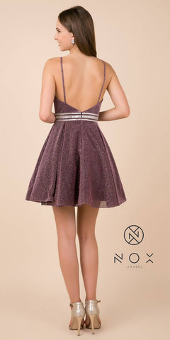 Nox Anabel Y678 V-Neck Embellished Waist Homecoming Short Dress Deep Ruby