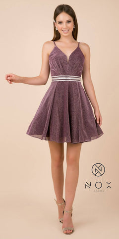 V-Neck Embellished Waist Homecoming Short Dress Deep Ruby