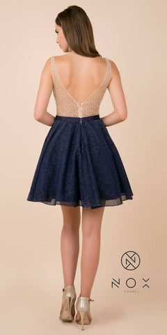Navy Blue Homecoming Short Dress Embellished Top