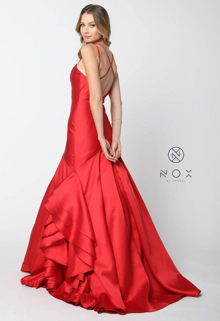 Nox Anabel C034 Red Mermaid Ruffled Gown Cross Back Straps