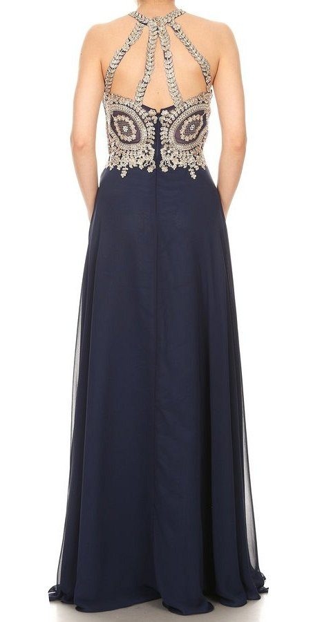 Halter Appliqued Long Prom Dress Navy Blue