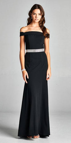 Black Off-the-Shoulder Long Formal Dress with Train