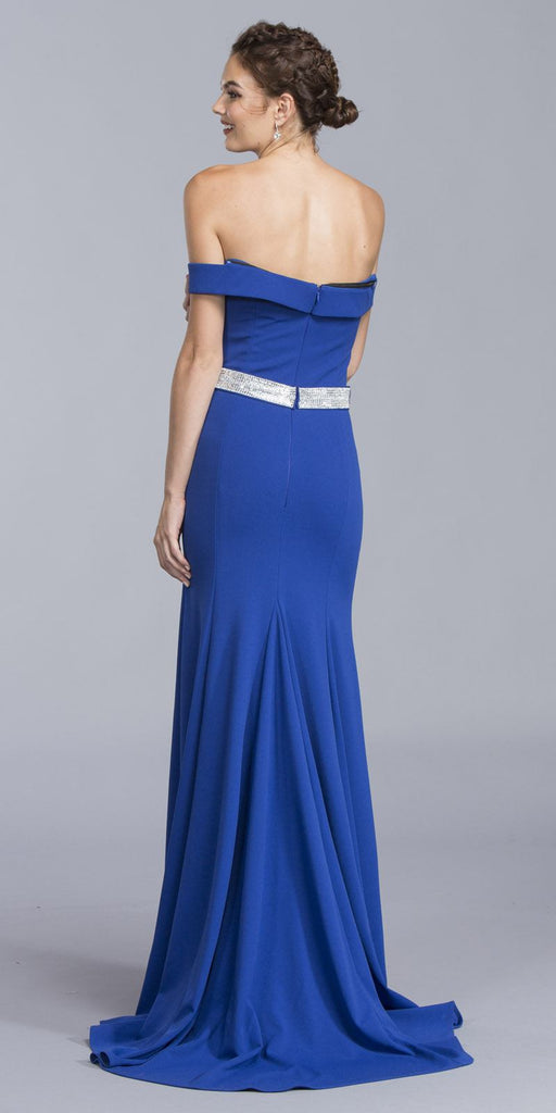 Royal Blue Off-the-Shoulder Long Formal Dress with Train