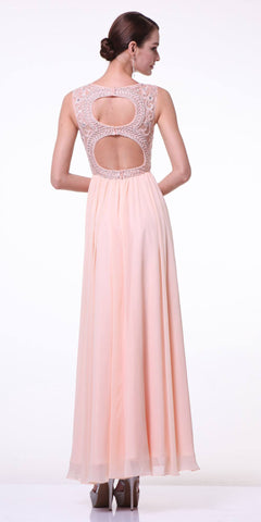 Cut-Out Back Champagne Sleeveless Long Formal Dress