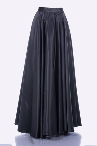 Poly USA SK10 - Long Black Satin Skirt Side Pockets