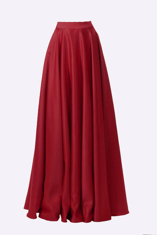 Poly USA SK10 - Long Burgundy Satin Skirt Side Pockets